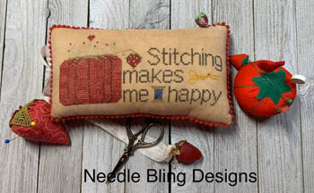 Needle Bling Designs - Stitching Makes Me Happy-Needle Bling Designs - Stitching Makes Me Happy, pin cushion, tomato, needles, pins, crafts, pleasure, relaxing, cross stitch