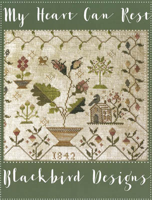 Blackbird Designs - My Heart Can Rest-Blackbird Designs - My Heart Can Rest, house, peace, flowers, roses, bird, cross stitch