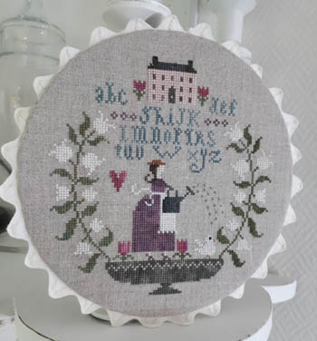 Tralala - Au Printemps (In Spring)-Tralala - Au Printemps In Spring, sampler, house, home, flowers, lady, cross stitch, french