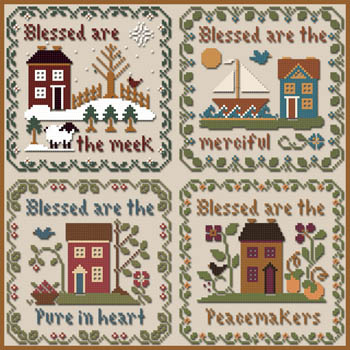 Little House Needleworks - Saltbox Scriptures-Little House Needleworks - Saltbox Scriptures,  Blessed, meek, merciful, pure, peacemakers, cross stitch, bible verses,