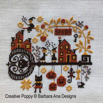 Barbara Ana Designs - Spellville-Barbara Ana Designs - Spellville, Halloween, pumpkins, black cats, spooky, fall, cross stitch