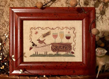 Homespun Elegance - Delivering Wine Grapes-Homespun Elegance - Delivering Wine Grapes, cocktails, sheep, wagon, wines, grapes, cross stitch