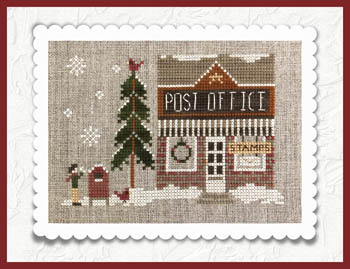 Little House Needleworks - Hometown Holiday - Post Office-Little House Needleworks - Hometown Holiday - Post Office, mail, winter, stamps, town, cross stitch