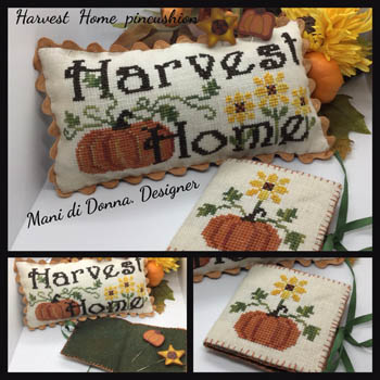Mani Di Donna - Harvest Home Pincushion-Mani Di Donna - Harvest Home Pincushion, pumpkins, needlebook, fall, autumn, cross stitch
