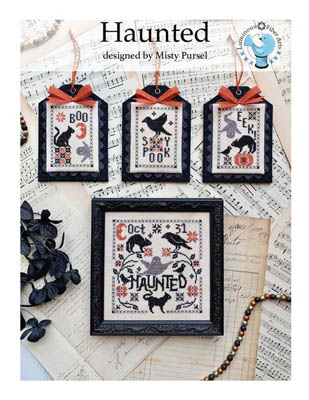 Luminous Fiber Arts - Haunted-Luminous Fiber Arts - Haunted, Halloween, black cats, fall, scary, trick or treat, cross stitch