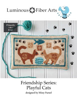 Luminous Fiber Arts - Friendship Series Playful Cats-Luminous Fiber Arts - Friendship Series Playful Cats, fish, kittens, playing, yarn, friends, cross stitch