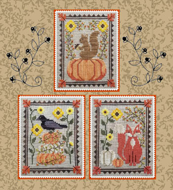 Waxing Moon Designs - Bittersweet Trio-Waxing Moon Designs - Bittersweet Trio, fall, squirrel, pumpkins, crow, autumn, cross stitch
