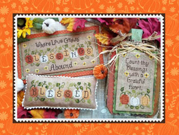 Waxing Moon Designs - Blessings Abound-Waxing Moon Designs - Blessings Abound, fall, harvest, pumpkins, grateful, thankful, blessed, cross stitch