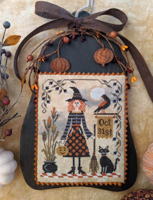 Lila's Studio - All Hallow's Eve-Lilas Studio - All Hallows Eve, Halloween, Oct. 31, witch, crow, black cat, fall, cross stitch