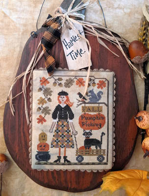 Lila's Studio - Harvest Time-Lilas Studio - Harvest Time, autumn, fall, pumpkin, kitty, leaves, squirrel, cross stitch