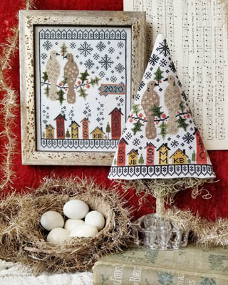 Hello From Liz Mathews - 12 Days of Christmas - 02 Second Day of Christmas Sampler & Tree-Hello From Liz Mathews - 12 Days of Christmas - 02 Second Day of Christmas Sampler  Tree, turtle doves, houses, snowflakes, berries, birds, gifts, cross stitch, decorations