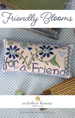 October House - Friendly Blooms-October House - Friendly Blooms, flowers, pin cushion, friends, BFF, cross stitch