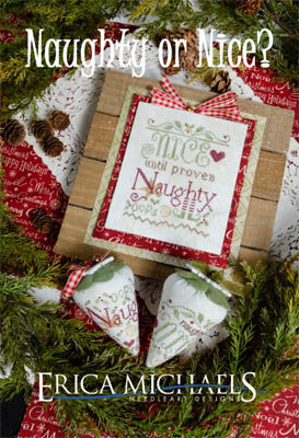 Erica Michaels Designs - Naughty or Nice?-Erica Michaels Designs - Naughty or Nice , Christmas, Santa Claus, berries, cross stitch