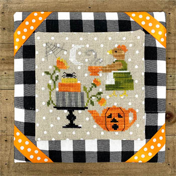 Tiny Modernist - Hen's Halloween Tea-Tiny Modernist - Hens Halloween Tea, cobweb, spiders, pumpkin, tea, cake, Halloween, hen, cross stitch