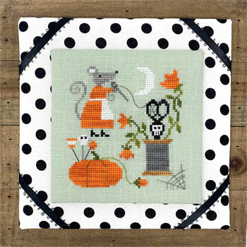Tiny Modernist - Mouse's Halloween Stitching-Tiny Modernist - Mouses Halloween Stitching, Halloween, pumpkin, thread, pins, scissors, moon, mouse, cross stitch