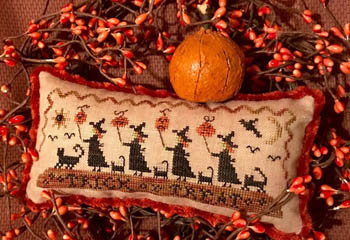 Homespun Elegance - Trick Or Treat Parade-Homespun Elegance - Trick Or Treat Parade, Halloween, witches, black cats, trick or treat, cross stitch