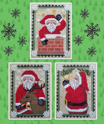 Waxing Moon Designs - Trios - Santa Trio-Waxing Moon Designs - Trios - Santa Trio, Santa Claus, Christmas, ornaments, cross stitch
