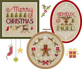 Jardin Prive - Crazy Noel-Jardin Prive - Crazy Noel, Christmas, gingerbread man, reindeer, Christmas trees, ornaments, cross stitch