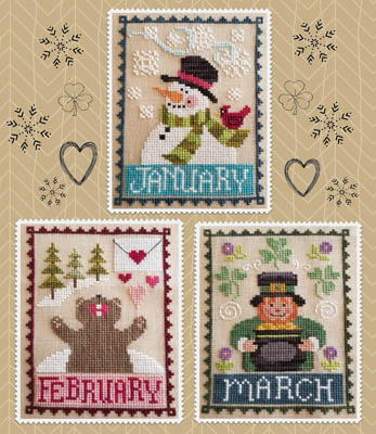 Waxing Moon Designs - Monthly Trios 1 - January, February, March-Waxing Moon Designs - Monthly Trios 1 - January, February, March, calendar, snowman, bear, leprechaun, cross stitch