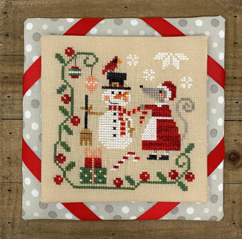 Tiny Modernist - Mouse's Christmas Decorating-Tiny Modernist - Mouses Christmas Decorating, snowman, candy cane, cardinal, quaker, cross stitch