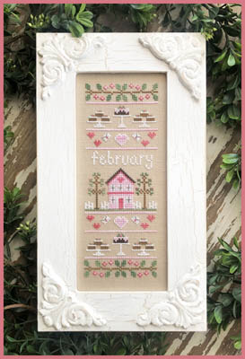 Country Cottage Needleworks - Sampler Of The Month 02 - February-Country Cottage Needleworks - Sampler Of The Month 02 - February, Valentines Day, houses, calendar, cross stitch