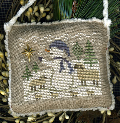 Homespun Elegance - Snowman Ornament 2013 - Watching & Waiting - Cross Stitch Pattern-Homespun Elegance, Snowman Ornament 2013, Watching & Waiting, lamb, north star, snow, christmas trees, Cross Stitch Pattern