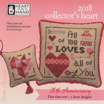 Heart in Hand Needleart - 2018 Collector's Heart Double Kit-Heart in Hand Needleart -  2018 Collectors Heart - Cross Stitch Kit, love, hearts, arrow, cross stitch