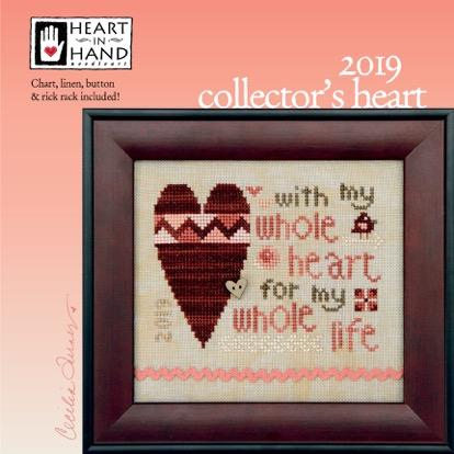 Heart in Hand Needleart - 2019 Collector's Heart Kit-Heart in Hand Needleart - 2019 Collectors Heart Kit, love, marriage, hearts, series, Valentines Day, cross stitch