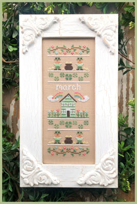 Country Cottage Needleworks - Sampler Of The Month 03 - March-Country Cottage Needleworks - Sampler Of The Month 03 - March, spring, St. Patricks Day, four leaf clover, cross stitch