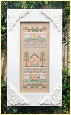 Country Cottage Needleworks - Sampler Of The Month 04 - April-Country Cottage Needleworks - Sampler Of The Month 04 - April, spring, bunnies, rabbits, chicks, flowers, home, cross stitch,