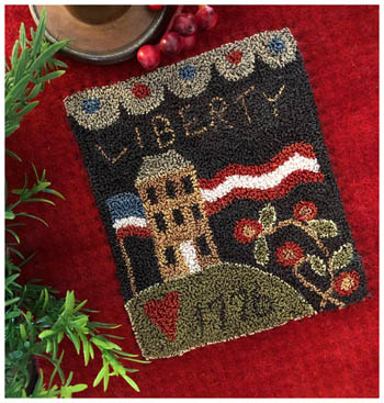 Little House Needleworks - Liberty House (Punchneedle)-Little House Needleworks - Liberty House Punchneedle, patriotic, America, USA,