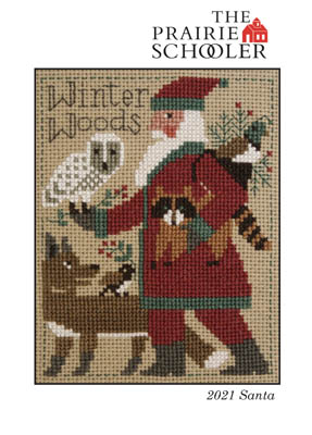 Prairie Schooler - 2021 Santa-Prairie Schooler - 2021 Santa, owl, fox, birds, woodland, Christmas, forest, cross stitch, Santa Claus,