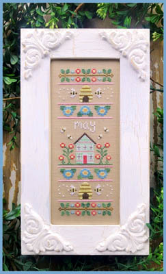 Country Cottage Needleworks - Sampler Of The Month 05 - May-Country Cottage Needleworks - Sampler Of The Month 05 - May, bees, beehive, flowers, home, cross stitch, spring,
