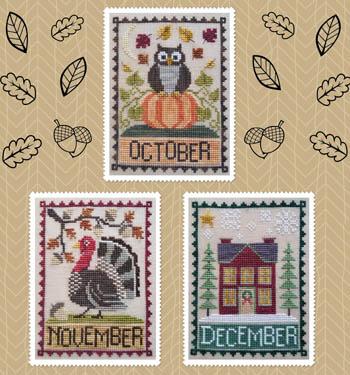 Waxing Moon Designs - Monthly Trios 4 - October, November, December-Waxing Moon Designs - Monthly Trios  4 - October, November, December, fall, autumn, Halloween, Thanksgiving, pumpkin, turkey, Christmas, cross stitch