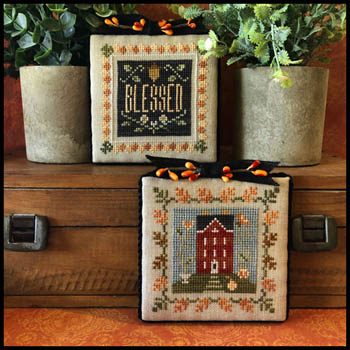 Little House Needleworks - Fall Is In The Air - Part 3-Little House Needleworks - Fall Is In The Air - Part 3, blessed, home, autumn, leaves, pumpkins, cross stitch