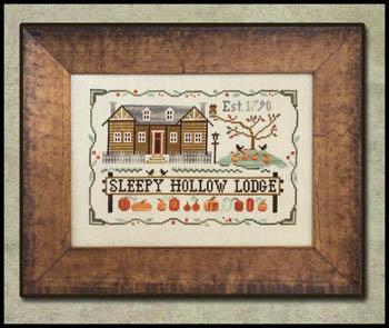 Little House Needleworks - Sleepy Hollow Lodge-Little House Needleworks - Sleepy Hollow Lodge, fall, pumpkins, cabin, cross stitch