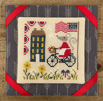 Tiny Modernist - Mouse's 4th of July Ride-Tiny Modernist - Mouses 4th of July Ride, USA, patriotic, American flag, summer, bicycle, flowers, parade, cross stitch