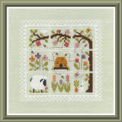 Jardin Prive - Des Couleurs dans mon Jardin-Jardin Prive - Des Couleurs dans mon Jardin, lamb, sheep, flowers, beehive, bees, summer, cross stitch