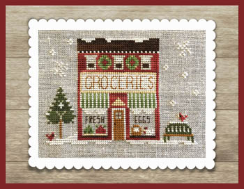 Little House Needleworks - Hometown Holiday - Grocery Store-Little House Needleworks - Hometown Holiday - Grocery Store, town, winter, snow, cross stitch