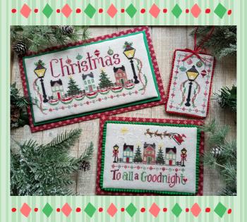 Waxing Moon Designs - Christmas Street-Waxing Moon Designs - Christmas Street, homes, Christmas decorations, ornaments, Santa Claus, lamp light, Christmas tree, cross stitch