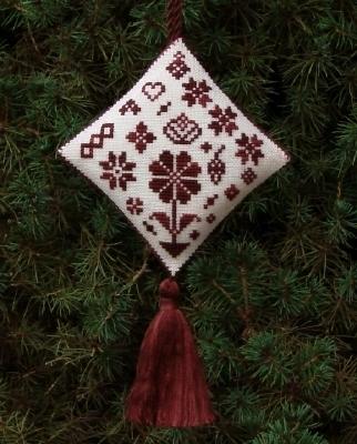 Historic Stitches - Christmas Quaker Ornament - Cross Stitch Chart-Historic,Stitches,Christmas,Quaker, Ornament,Cross,Stitch,Chart, red, tree,
