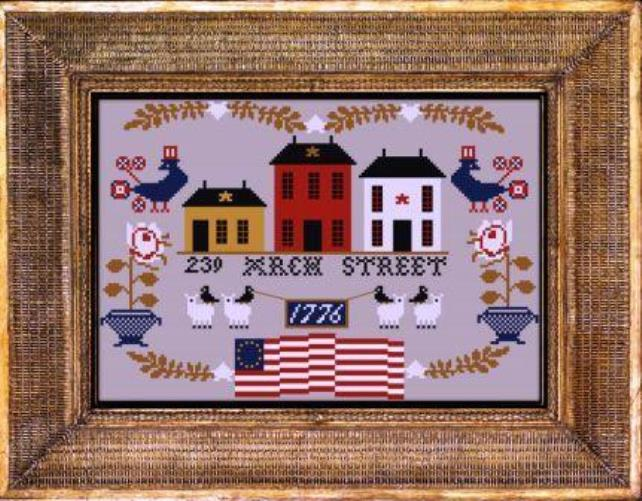 Twin Peak Primitives - 239 Arch Street-Twin Peak Primitives - 239 Arch Street, Betsy Ross, American Flag, seamstress, USA, cross stitch