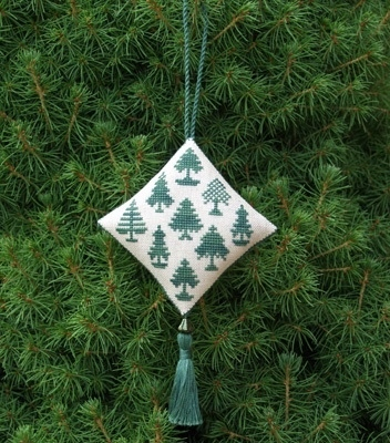 Historic Stitches - Christmas Forest Ornament - Cross Stitch Chart-Historic,Stitches,Christmas,Forest, Ornament,Cross,Stitch,Chart,trees, green