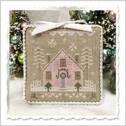 Country Cottage Needleworks - Glitter Village - Glitter House 2-Country Cottage Needleworks - Glitter Village - Glitter House 2, Christmas, pink house, snow, cross stitch