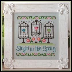 Country Cottage Needleworks - Singin' in the Spring - Cross Stitch Pattern-Country Cottage Needleworks, Singin' in the Spring, 3 singing birds in birdcages, tweet tweet, flowers and wrought iron bird cages, Cross Stitch Pattern
