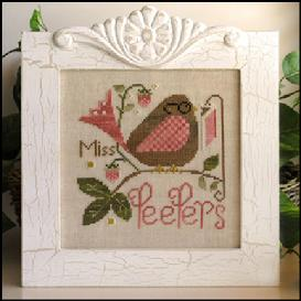 Little House Needleworks - Miss Peepers-Little House Needleworks, Miss Peepers, bird reading a book sitting on a strawberry twig, reading with glasses, Cross Stitch Pattern