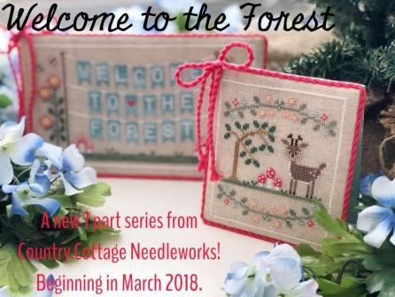 Country Cottage Needleworks - Welcome to the Forest - Part 1 - Forest Banner-Country Cottage Needleworks - Welcome to the Forest - Part 1 - Forest Banner, woodland animals, forest, trees, spring, cross stitch