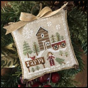 Little House Needleworks - Farmhouse Christmas - Part 6 - Pinewood Farm-Little House Needleworks - Farmhouse Christmas - Part 6 - Pinewood Farm, sheep, farm, flowers, snowflakes, wagon,