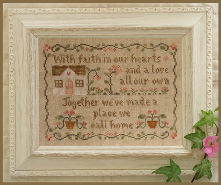 Country Cottage Needleworks - A Place We Call Home-Country Cottage Needleworks - A Place We Call Home ,Cross Stitch Pattern, house, flowers, pink,family, love,
