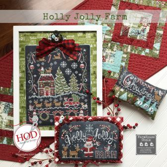 Hands On Design - Farmhouse Chalk - Holly Jolly Farm-Hands On Design - Farmhouse Chalk - Holly Jolly Farm, Christmas, Farm, Santa Claus, red truck